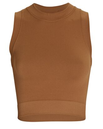 Lucy Seamless Knit Crop Top, BROWN, hi-res