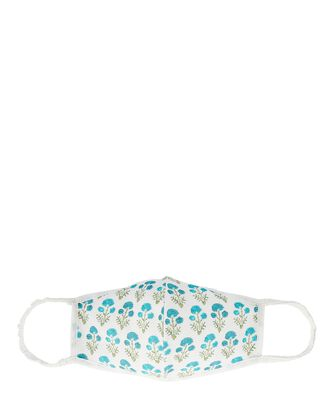 Brio Floral Cotton Face Mask, BLUE-MED, hi-res