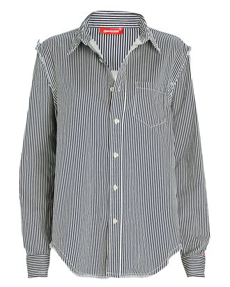 Striped Button-Down Shirt, WHITE/NAVY, hi-res