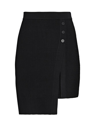 Emily Asymmetrical Mini Wrap Skirt, BLACK, hi-res