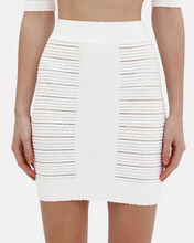 Ribbed Knit Mini Skirt, WHITE, hi-res