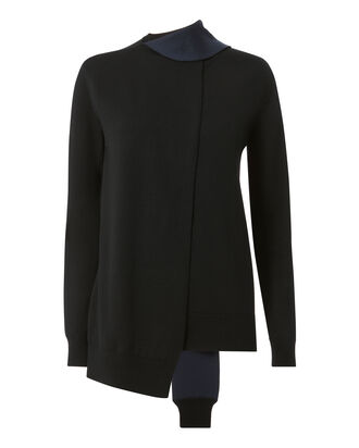 Merino Wool Tie Neck Sweater, BLACK, hi-res