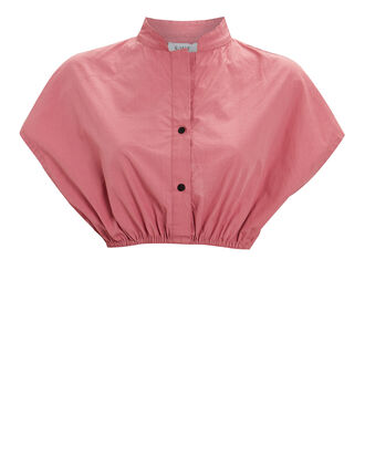 Cropped Cotton Button-Down Shirt, PINK, hi-res