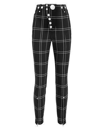 Snap Button Trousers, BLACK/WHITE PLAID, hi-res