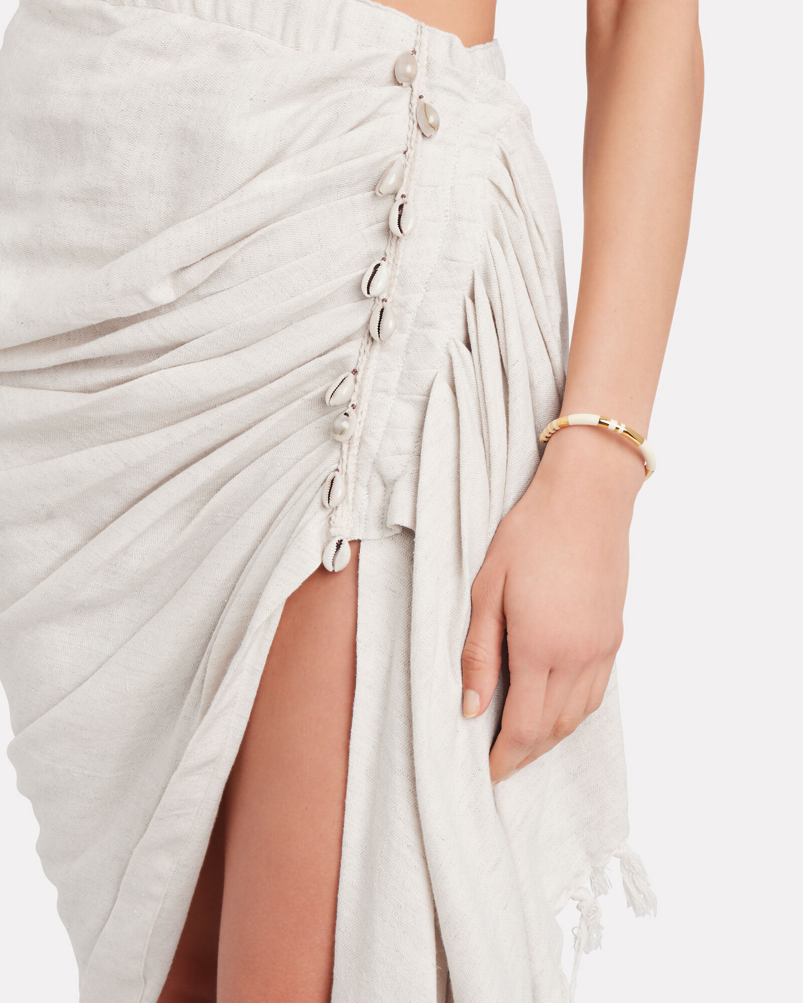 Tulum Ruched High-Low Skirt, BEIGE, hi-res