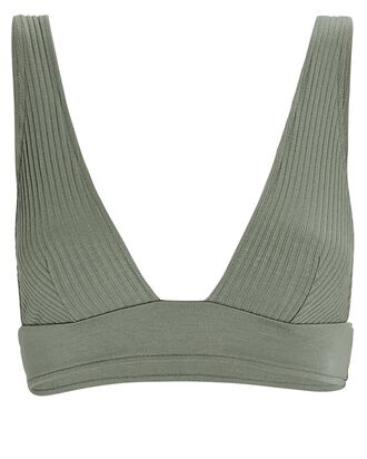 Eco Rib Knit Triangle Bralette, OLIVE, hi-res