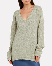 Space Dye V-Neck Sweater, GREEN, hi-res