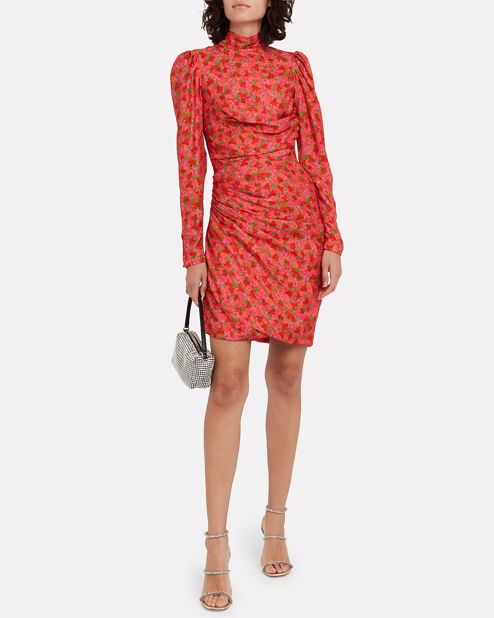 Vigdis Draped Floral Mini Dress, PINK/FLORAL, hi-res