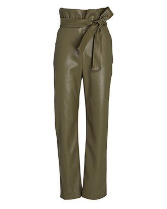 Kayden Vegan Leather Paperbag Pants, OLIVE/ARMY, hi-res