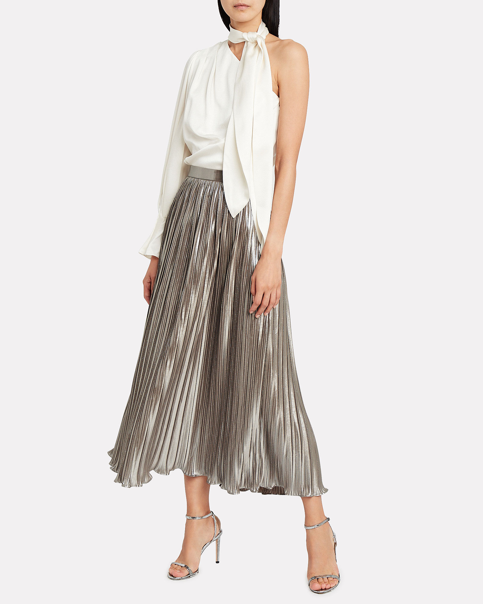 Camille Pleated Skirt, CHAMPAGNE, hi-res