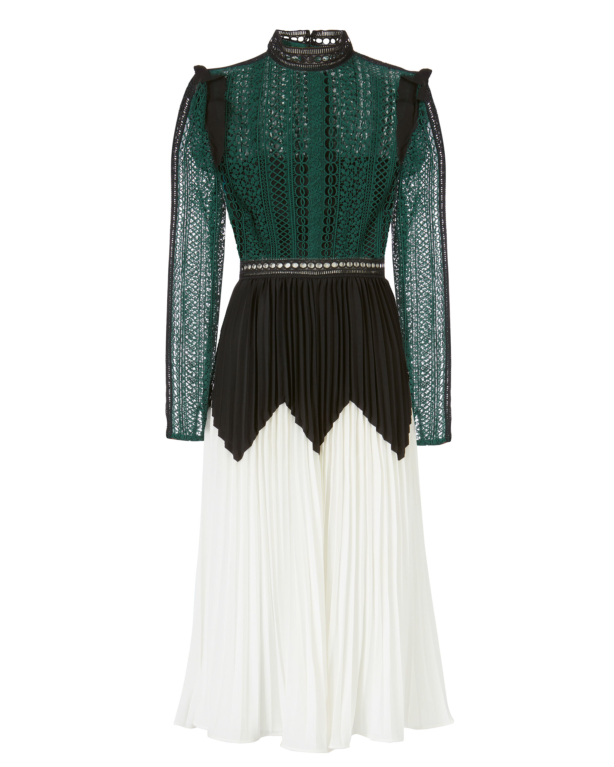 Lace Bodice And Pleated Skirt Gown, MULTI, hi-res