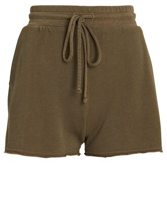 Cotton-Blend Terry Shorts, OLIVE/ARMY, hi-res