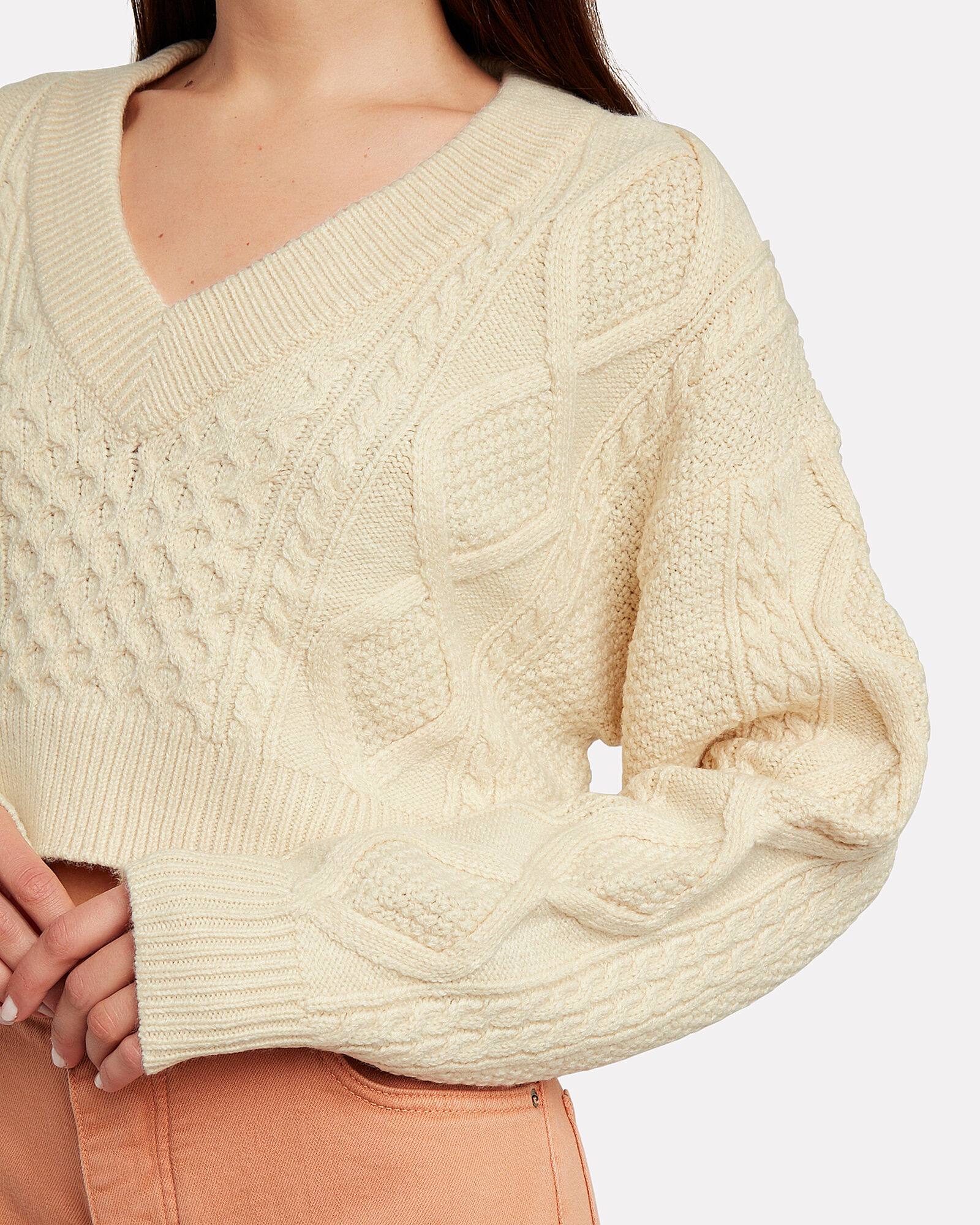 Unhinged Cropped Cable Knit Sweater, CREAM, hi-res
