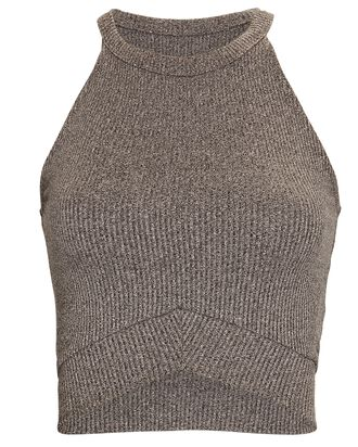 Brigitte Rib Knit Sports Bra, GREY, hi-res