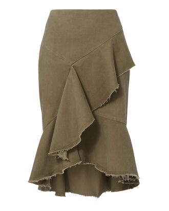 Sabrina Ruffle Twill Pencil Skirt, GREEN, hi-res