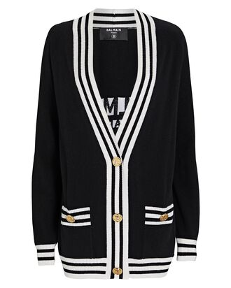Oversized Wool-Cashmere Logo Cardigan, BLACK, hi-res