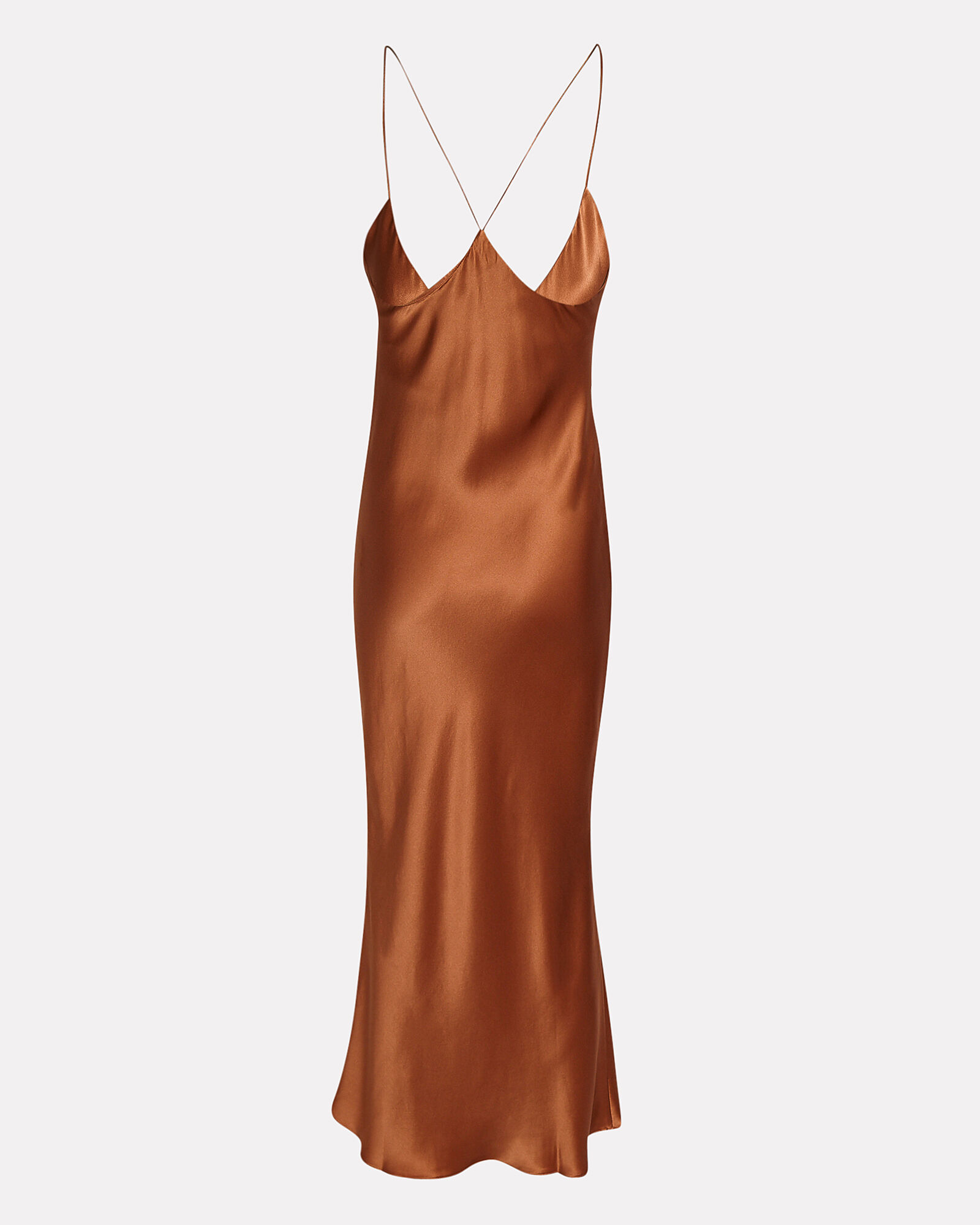 Lewis Silk Slip Dress, BROWN, hi-res