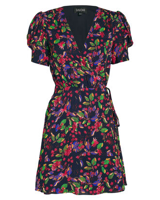 Lea Silk Floral Wrap Dress, MULTI, hi-res