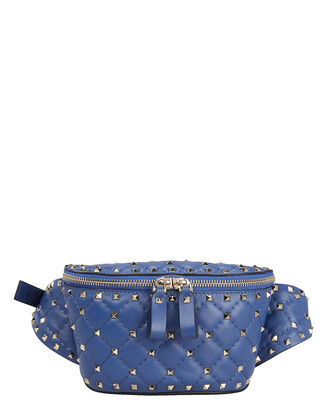 Rockstud Quilted Leather Belt Bag, BLUE, hi-res