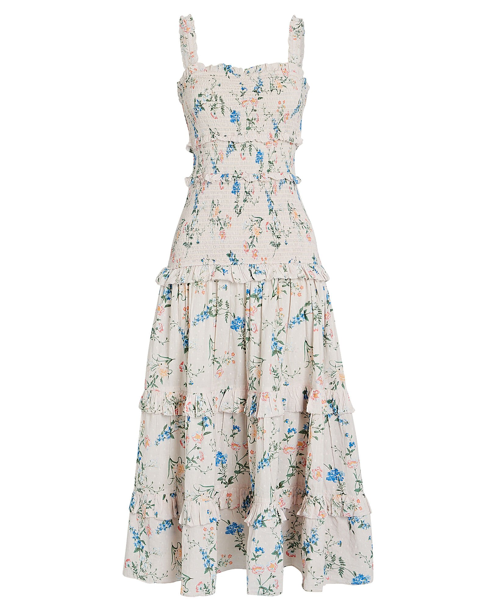 Altea Smocked Floral Cotton Dress, IVORY, hi-res