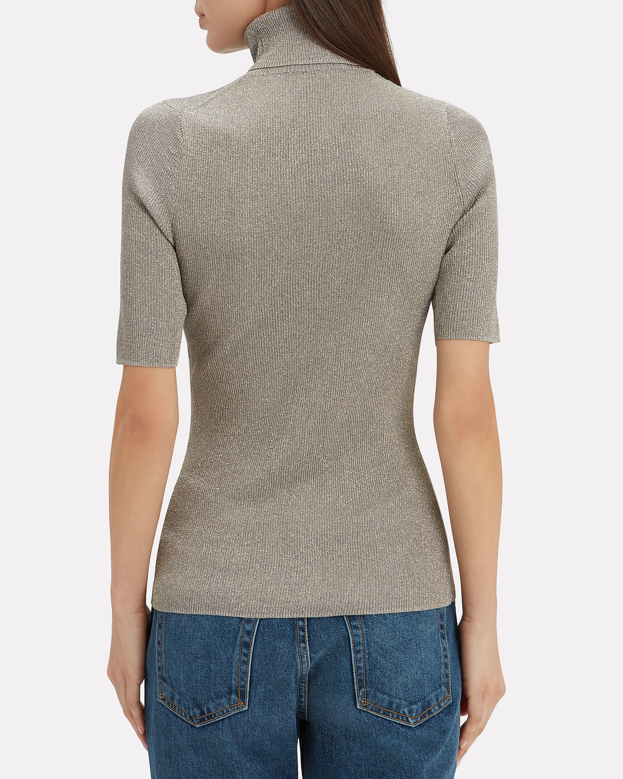 Lurex Turtleneck Top, SILVER, hi-res