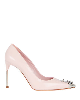 Spiked Leather Pumps, BLUSH, hi-res