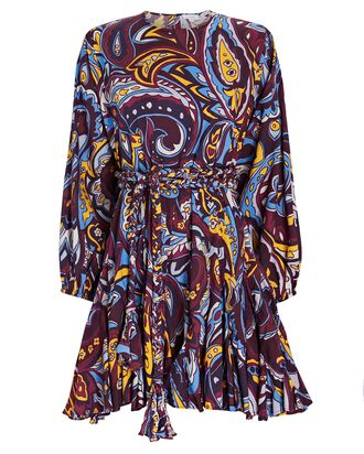 Ella Paisley Poplin Mini Dress, PURPLE/BLUE/YELLOW, hi-res