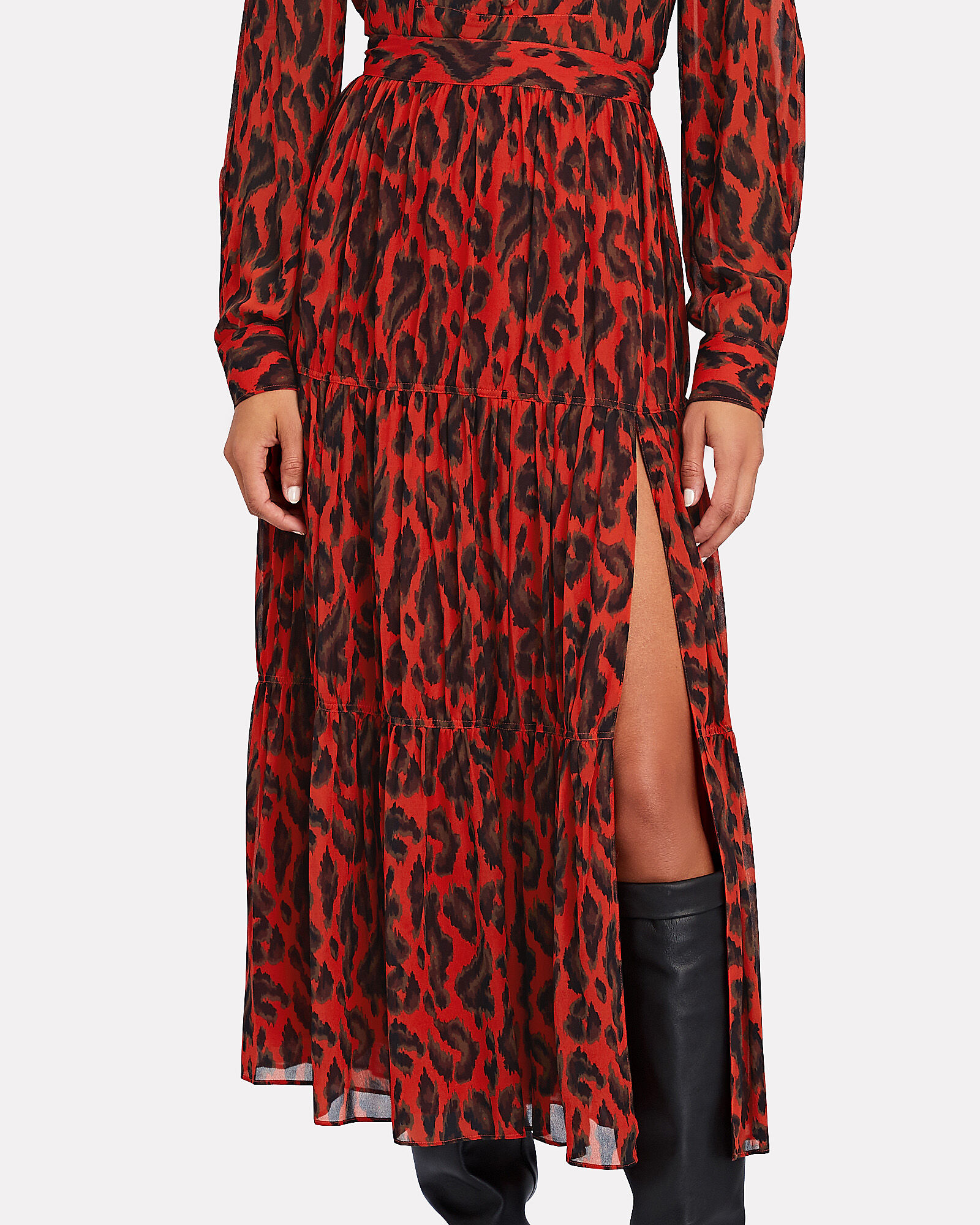 Qualley Leopard Print Maxi Skirt, RED, hi-res