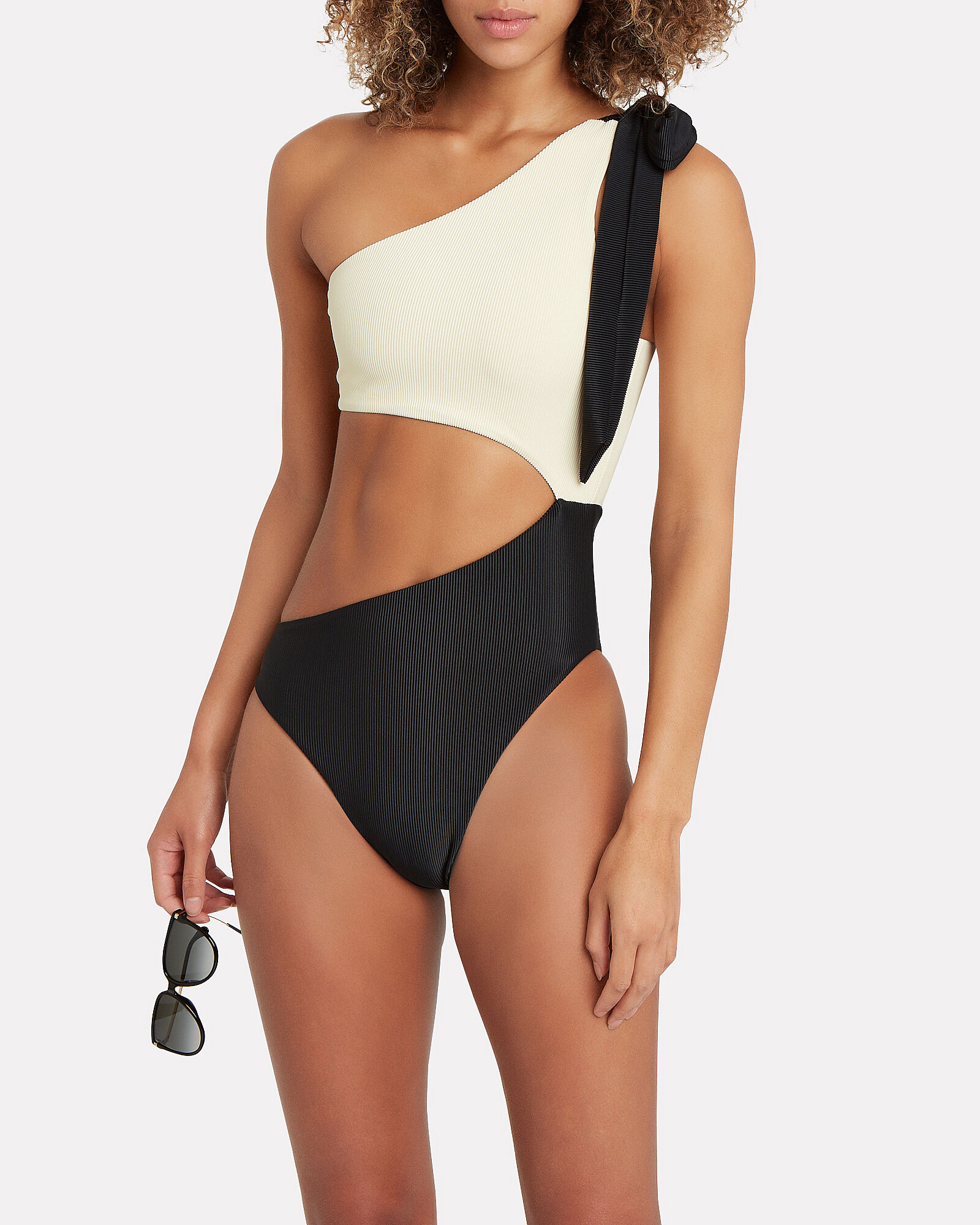 Cut-Out One-Piece Swimsuit, IVORY/BLACK, hi-res
