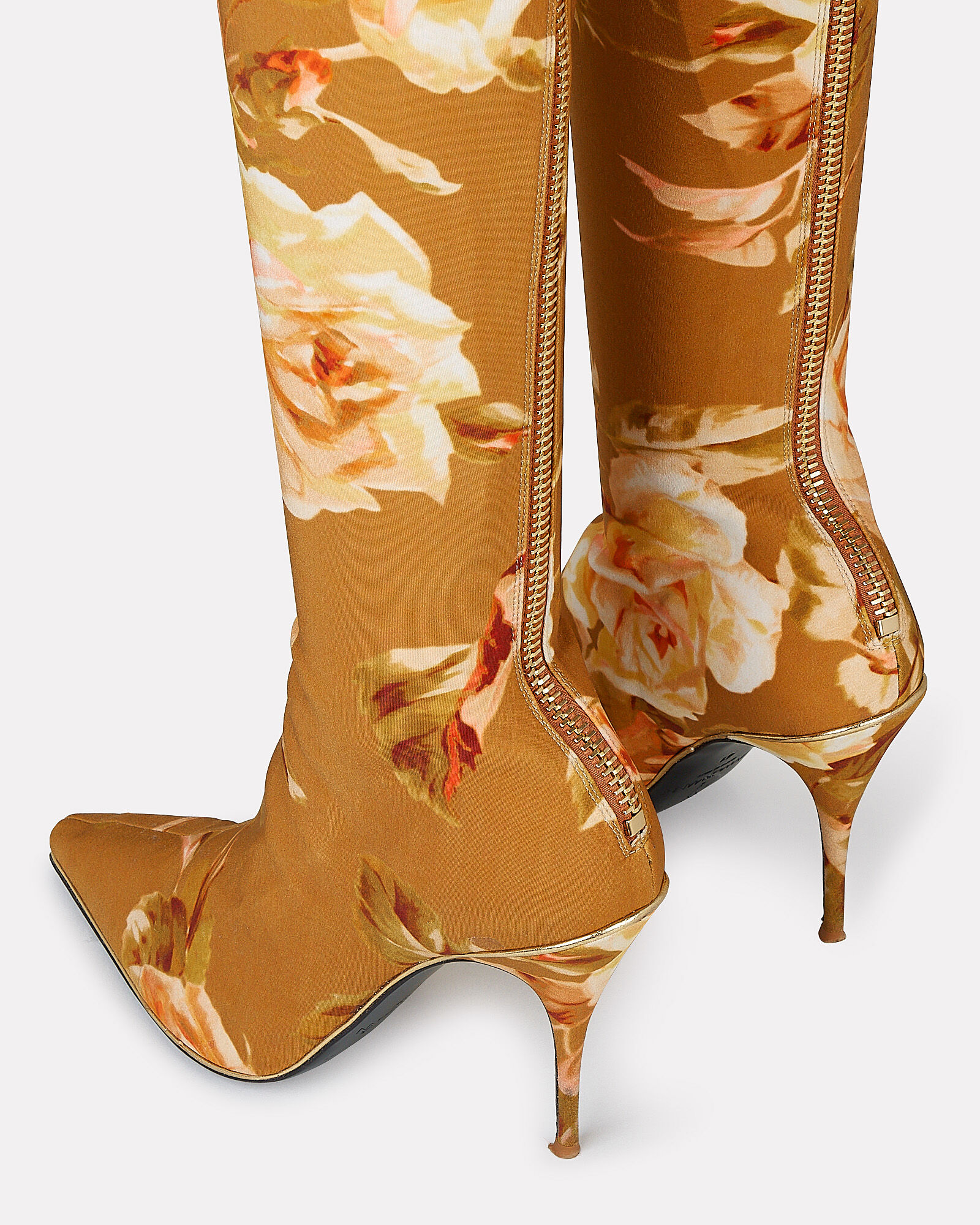 Thigh-High Floral Boots, BROWN, hi-res