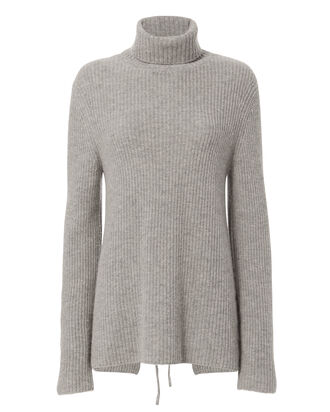 Alexander Lace-Up Back Sweater, GREY, hi-res