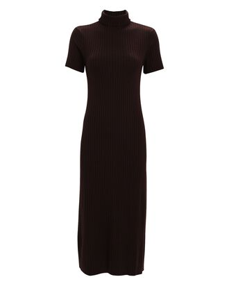 Lilou Turtleneck Rib Knit Dress, DARK BROWN, hi-res