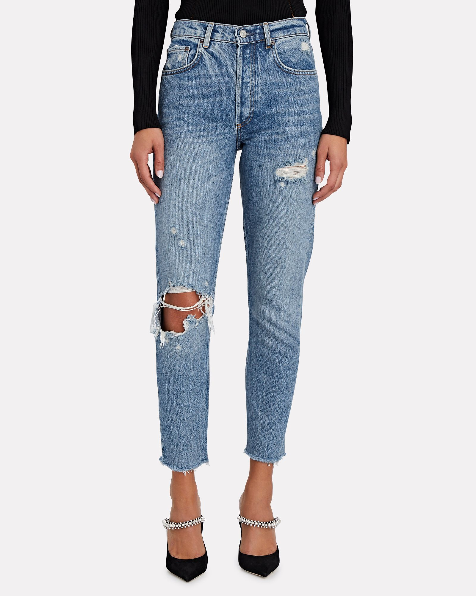 Billy Distressed High-Rise Skinny Jeans, FAR COUNTRY, hi-res