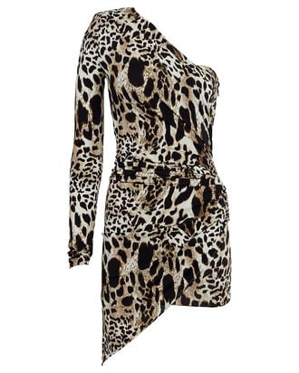 Asymmetrical Leopard-Print Mini Dress, GREY, hi-res