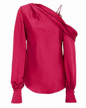 Sateen Lingerie Lace Drop-Shoulder Blouse, RED, hi-res