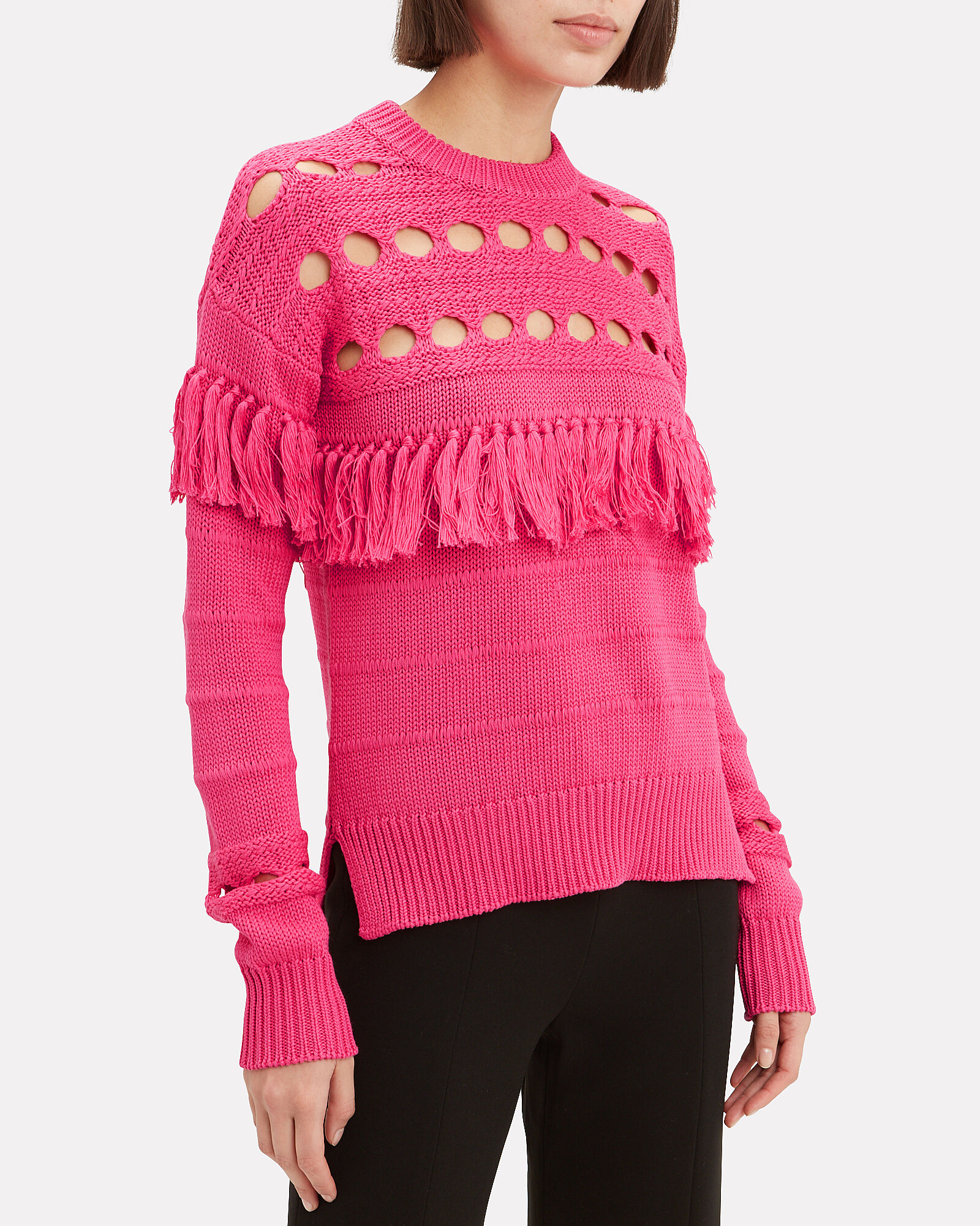Chunky Tassel Sweater, PINK, hi-res