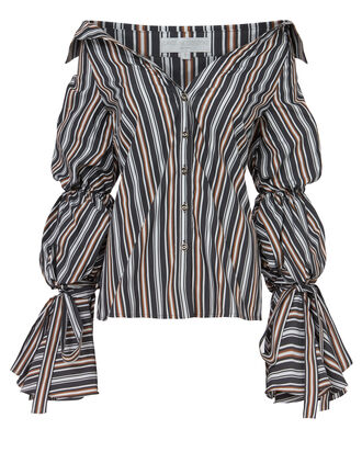 Margaret Striped Blouse, BLACK, hi-res