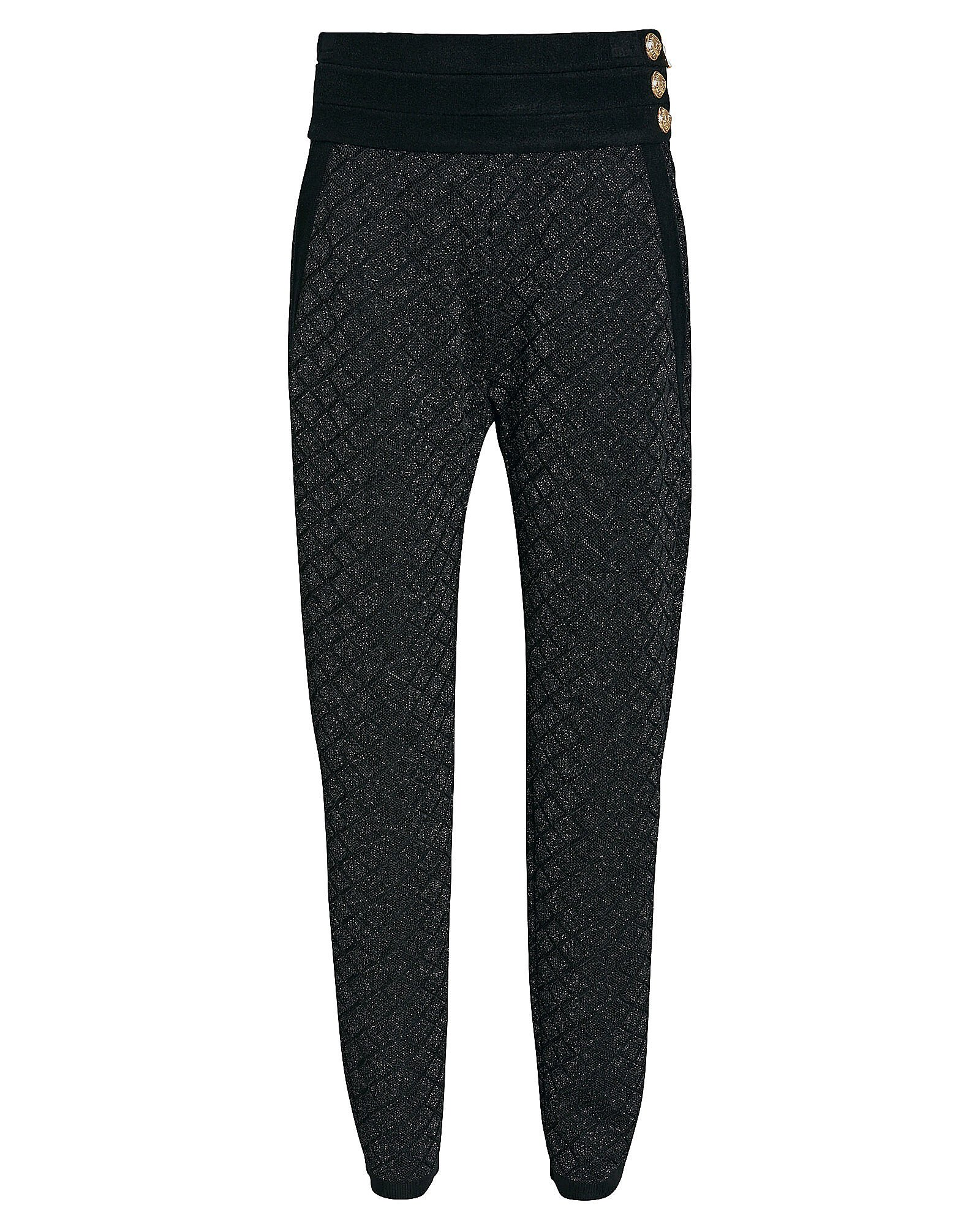 Tapered Button Embellished Joggers, BLACK, hi-res