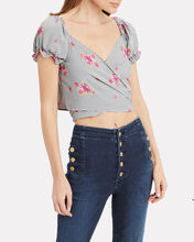 Annabelle Wrap Crop Top, GREY/FLORAL, hi-res