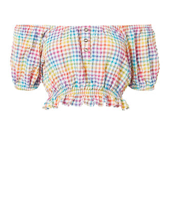 Rainbow Bardot Crop Top, PATTERN, hi-res