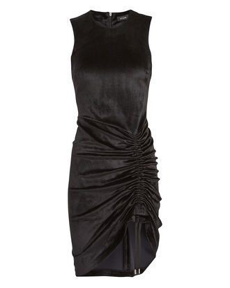 Ruched Velvet Bodycon Dress, BLACK, hi-res