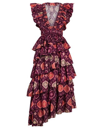 Viola Printed Ruffled Midi Dress, PURPLE/PINK, hi-res
