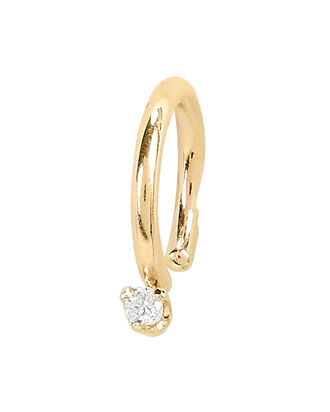 Single Diamond Ear Cuff, GOLD, hi-res