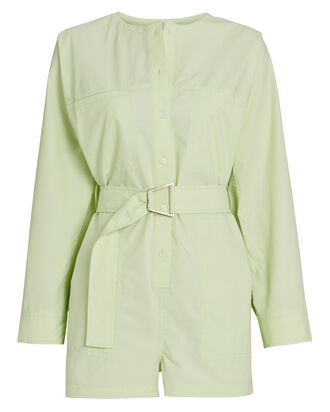 Belted Button-Down Romper, , hi-res