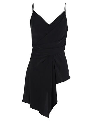 Peterson Draped Crepe Tank, BLACK, hi-res