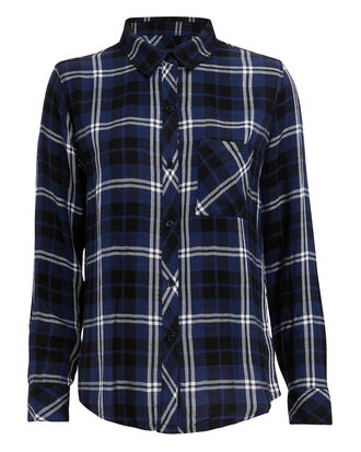 Hunter Navy Plaid Button Down Top, MULTI, hi-res