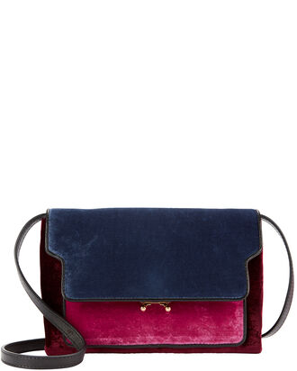 Colorblock Velvet Crossbody Bag, RED, hi-res