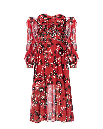 Floral Print Strapless Midi Dress, RED, hi-res