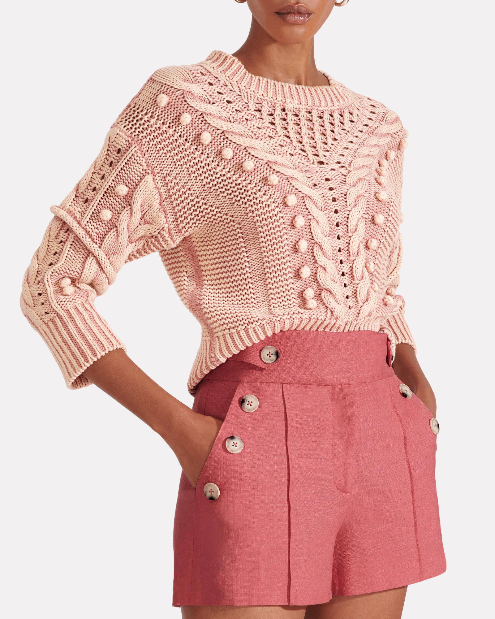 Pine Sateen Button Shorts, PINK, hi-res