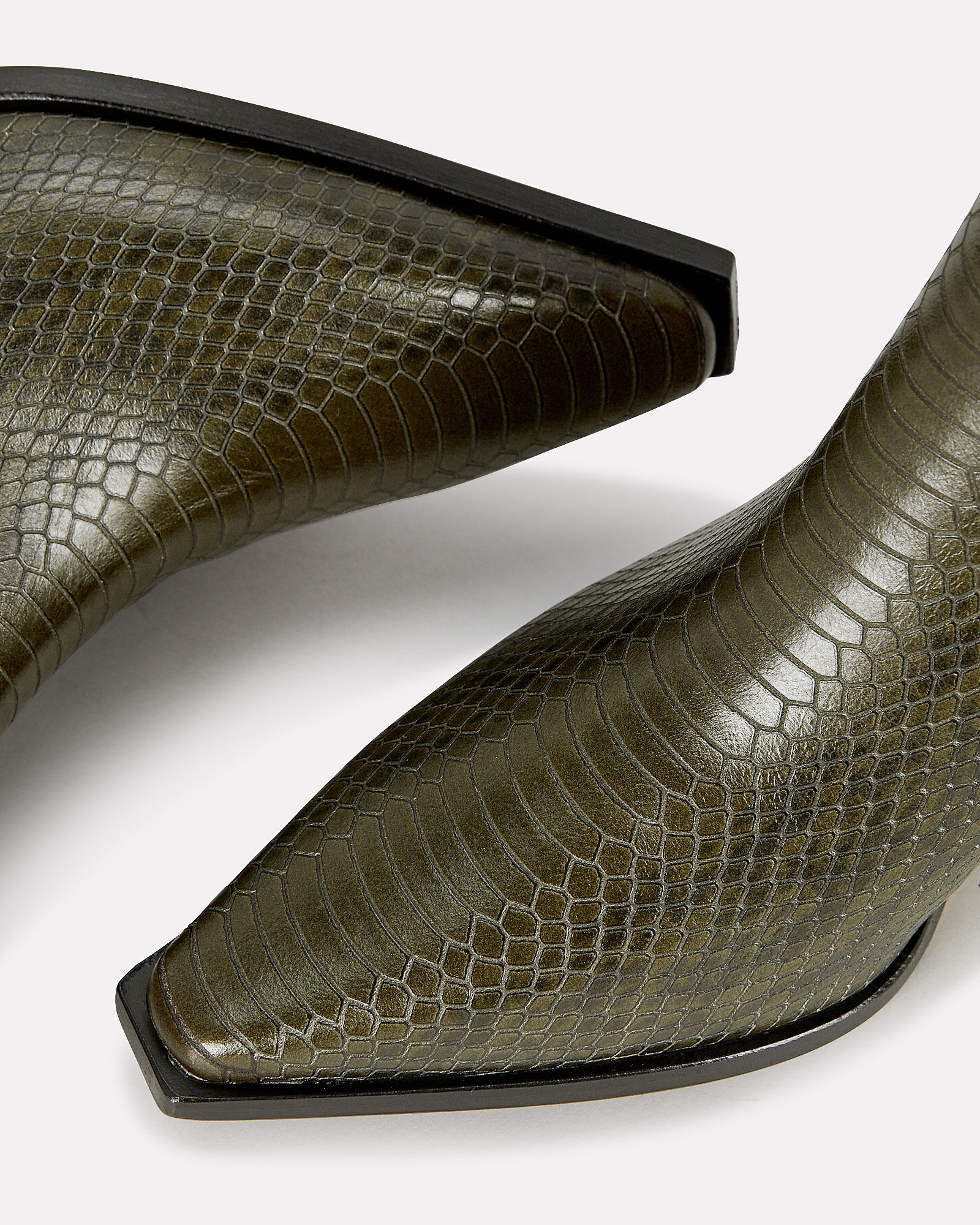 Kate Python-Embossed Booties, GREEN, hi-res
